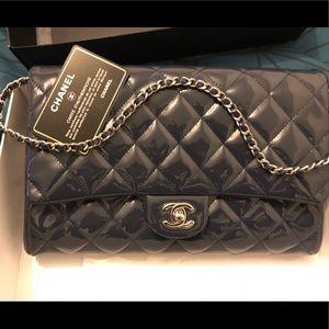 Authentic Chanel patent Navy blue envelope purse